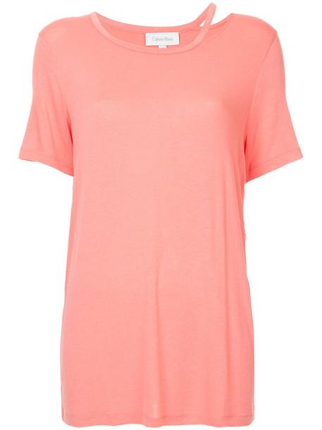 Ck Calvin Klein t-shirt shirt t-shirt women spandex purple pink top