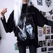 t-shirt,black,nu goth,aesthetic,alternative,kimiperri,black shirt,thin,macabre,kawaii,cute,pastel goth,tumblr