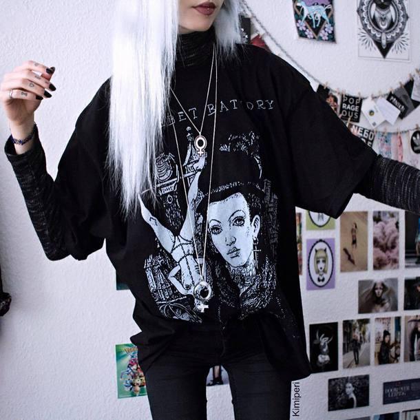 t-shirt black nu goth aesthetic alternative kimiperri black shirt thin macabre kawaii cute pastel goth tumblr