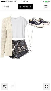 t-shirt,white crop tops,studded denim shorts,cream cardigan,simple outfit,moon necklace,sweater,shorts,shoes,jewels