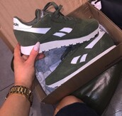 shoes,olive green,sneakers,Reebok