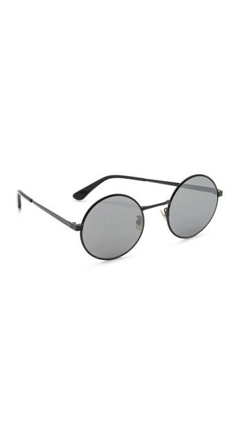 Saint Laurent Sl 136 Zero Base Round Mirrored Sunglasses - Matte Black/Silver Mirror