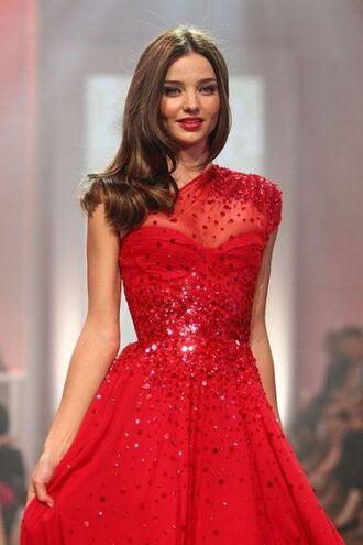 dress miranda kerr celebrity red red dress red lipstick cute cute dress