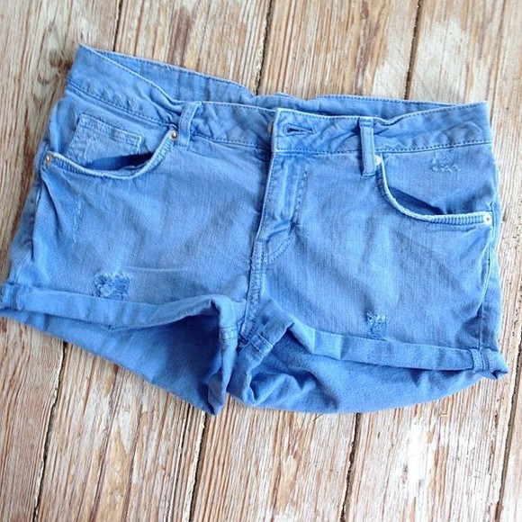 shorts summer blue cute blue shorts skinny ripped shorts ripped low waist spring