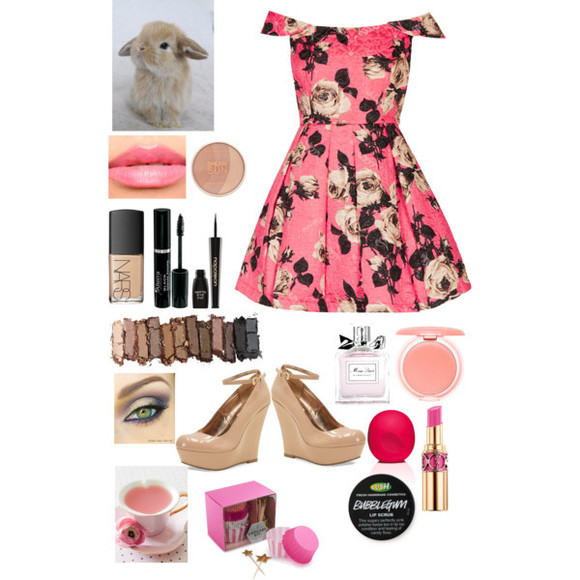 nude shoes dress thankslovelys pinktea floral bunny make-up pink dress cap sleeve pleats