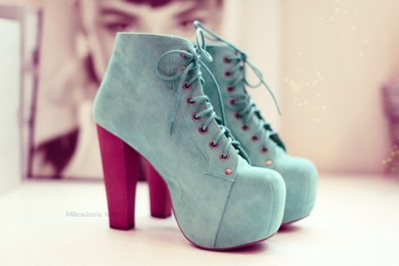 shoes high heels turquoise lace
