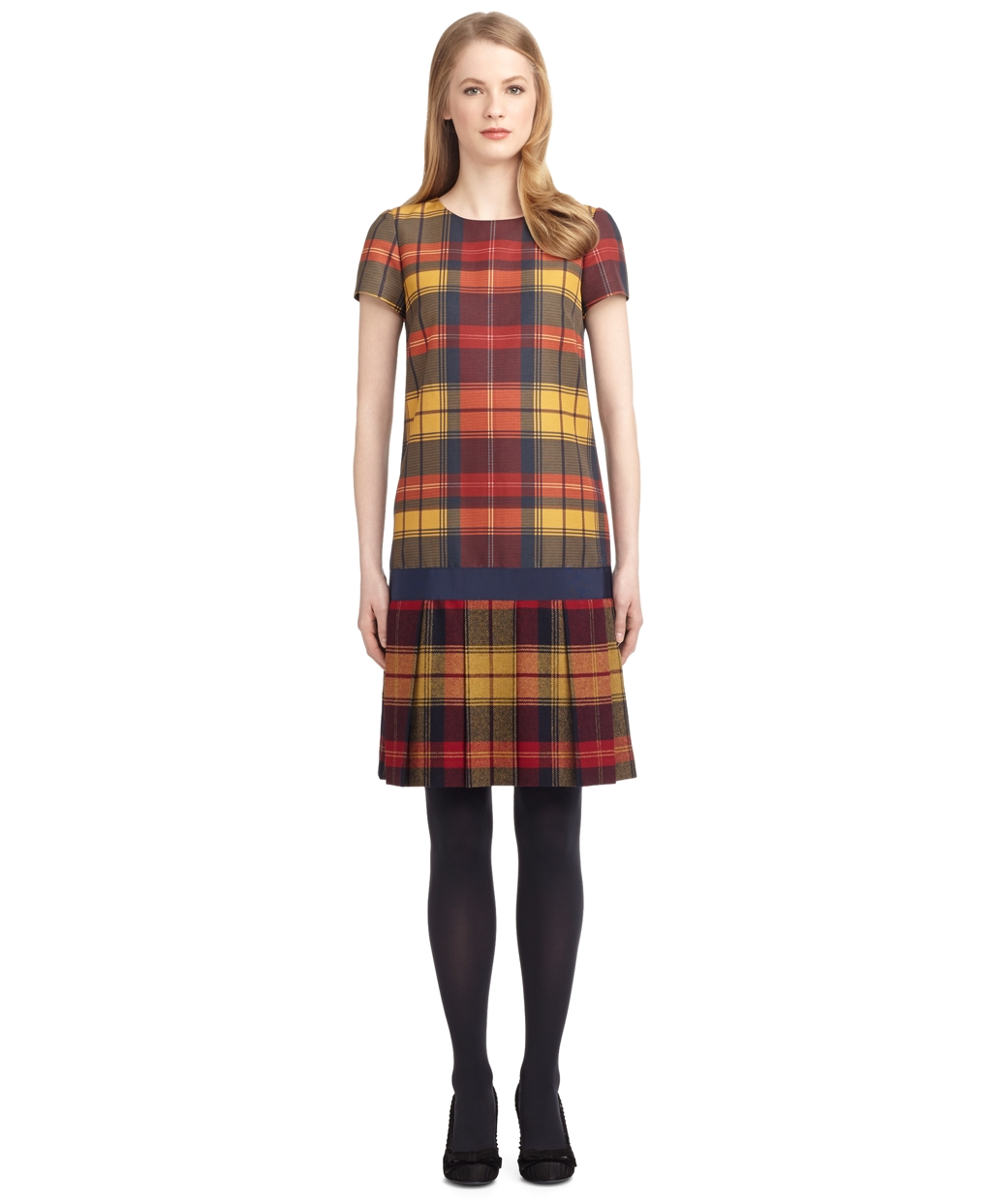 TARTAN DROP WAIST DRESS - Brooks Brothers