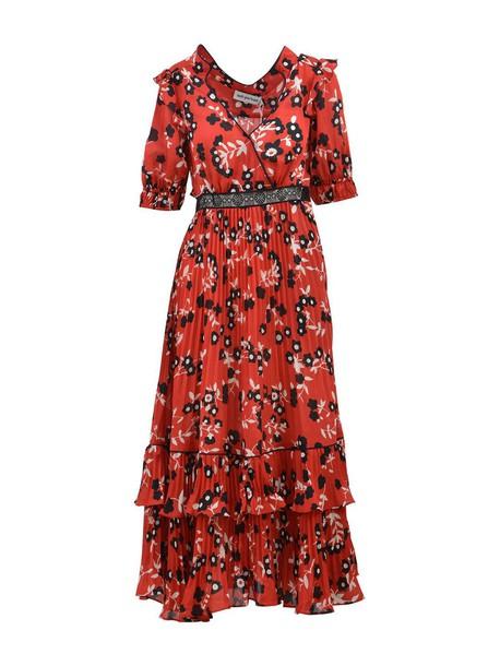 self-portrait dress shirt dress floral print red