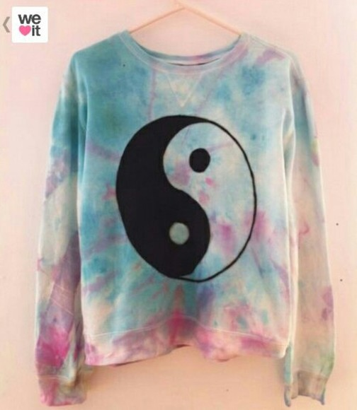 yin yang black and white coulurful ying yang sweater pink sweater blue sweater