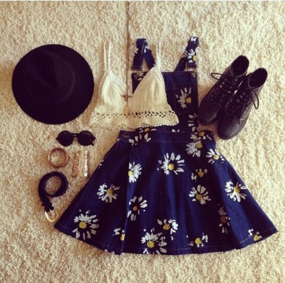floral daisy jeans retro blue dress dungarees hat shirt tank top cream crop tops crochet bralette blouse sunglasses lace white lace denim sunflower overalls cute dress blue dress cute outfits summer top blue,flower,yellow,white,cute skirt