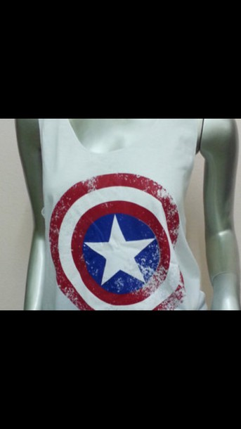 shirt tank top marvel marvel superheroes red and blue
