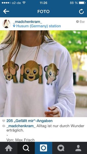 sweater emoji print monkey