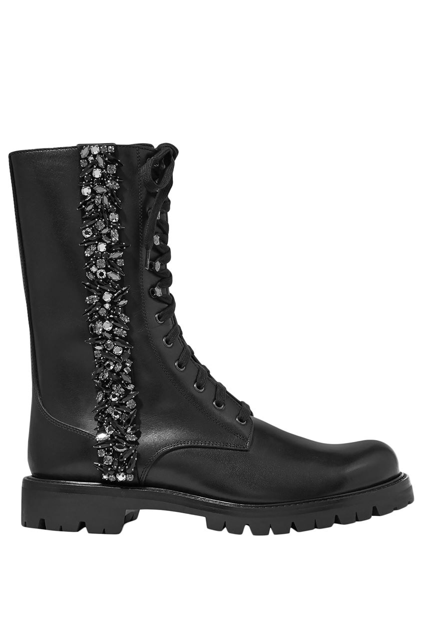 Rene' Caovilla Woman Kadesha Crystal-embellished Glossed-leather Ankle Boots Black Size 37