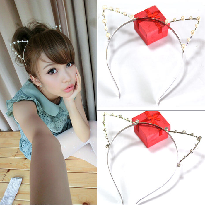 Lovely korean cute pearl crystal cat ears headband hair band fashion gift