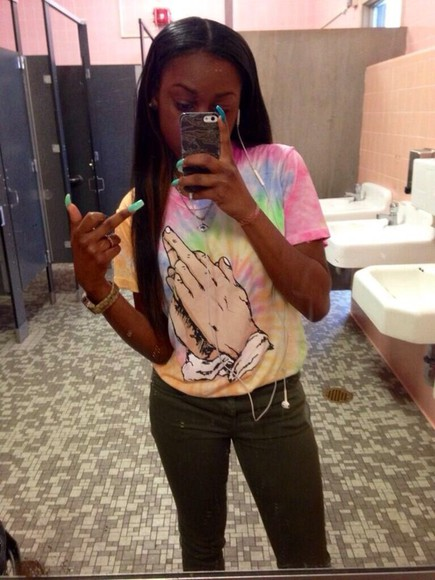 shirt tye dye yellow blue, green praying middle finger hands pink orange