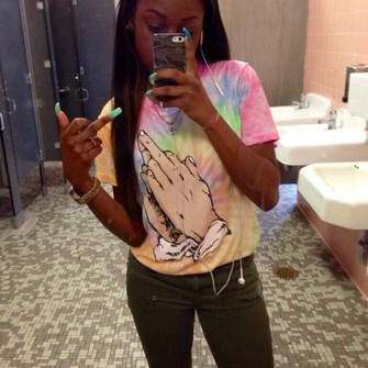 pink shirt yellow blue, green praying middle finger hands tie dye orange the middle
