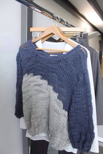 jumper sweater navy blue white ombré cool cute oversized sweater blue and gray warm