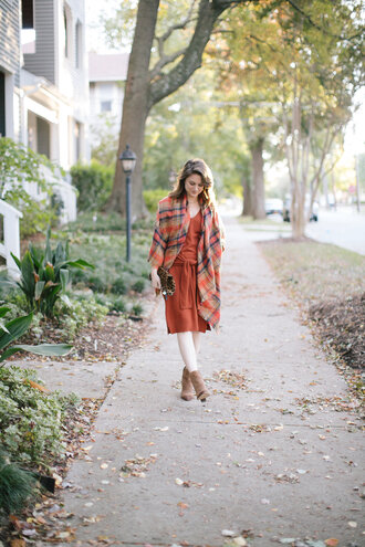 polishedclosets blogger dress shoes scarf bag jewels fall outfits fall colors midi dress orange dress ankle boots thanksgiving outfit opaque tights