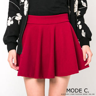 Plain A-Line Skirt, Maroon , One Size - MODE C. | YESSTYLE