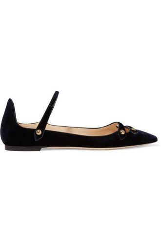 flats blue velvet shoes