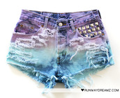 shorts,studs,purple,blue,runwaydreamz.com,colorful shorts