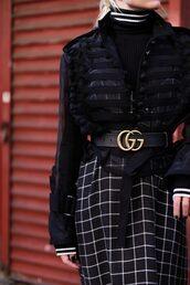 belt,tumblr,gucci,gucci belt,logo belt,waist belt,dress,checkered,top,turtleneck,jacket,black jacket,striped turtleneck