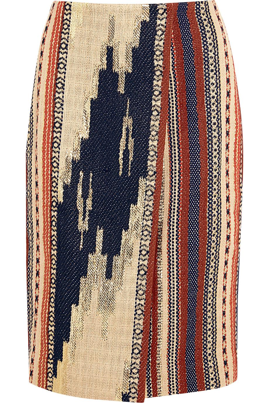 J.Crew Collection Alto metallic Ikat jacquard wrap pencil skirt – 70% at THE OUTNET.COM