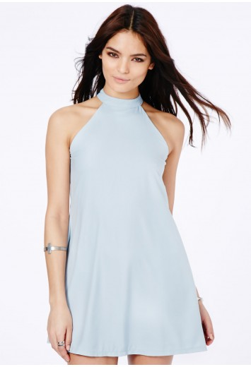 Missguided - Nikola Halterneck Shift Dress In Baby Blue
