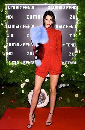 romper fur kendall jenner model off-duty turtleneck red carpet