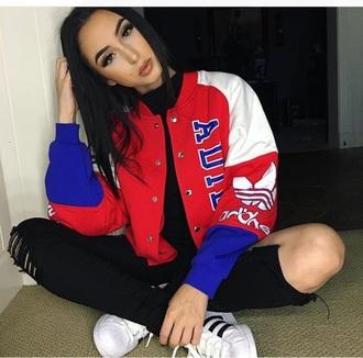 jacket baseball jacket adidas red blue white
