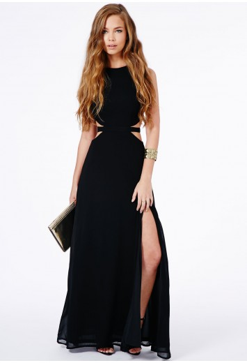 Missguided - Anthea Cut Out Split Maxi Dress In Black