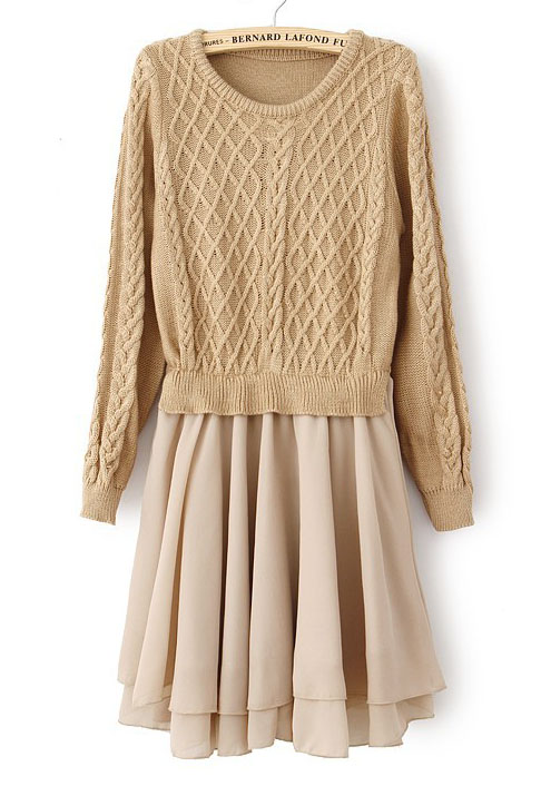 Khaki Long Sleeve Geo Pattern Contrast Chiffon Dress - Sheinside.com