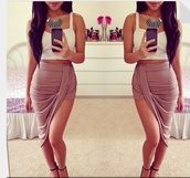 skirt,shirt,brown,short,high-low dresses,long,khloe kardashian,top,tan,asymmetrical,rippled,summer,spring,fashion,blouse,shoes,jewels,halfup,halfdown,cute,beige,tank top,wrap skirt,wrap over skirt,midi skirt,black,cream,instagram,outfit,dress,beautiful,hot skirt,hot,pink,girly,tumblr,weheartit,jupe,asymmetrical skirt,draped,high waisted,sexy,slit skirt,beige skirt,white top,heels,necklace,summer outfits,clothes,style,maxi skirt,cute dress,beige heels,crop tops,high heels,high waisted skirt,silk skirt