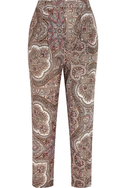 Zimmermann pants cotton print paisley burgundy neutral