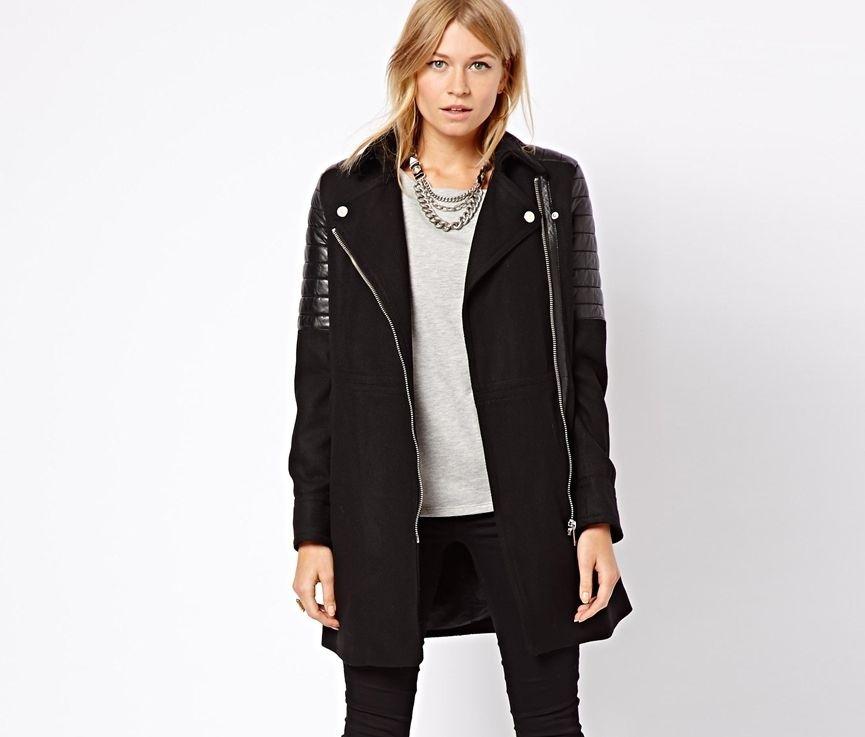 Mango Zara Group Leather padded shoulders wool blend biker coat*As seen on ASOS*
