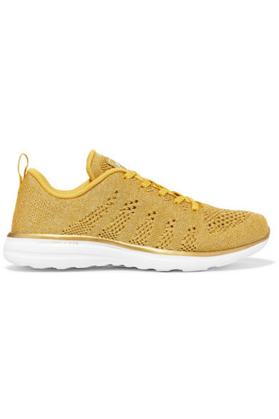 APL Athletic Propulsion Labs metallic mesh sneakers gold shoes