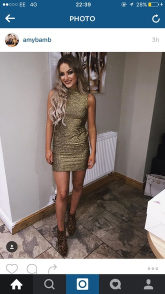dress gold glitter ldb blonde hair prom dress mini dress short dress high neck