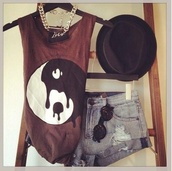 tank top,yin yang,brown,top,t-shirt,graphic top,jewels,hat,shirt,morone,red,wine,drip,hipster,High waisted shorts,shorts,denim,sunglasses,yin yang shirt,aztech,melting,burgundy,muscle tee,black,white,yin yang black white,booty shorts,hippie glasses,ying yang tank top,fedora,distressed denim shorts,summer outfits,plum,style,chic,casual,fancy,concert