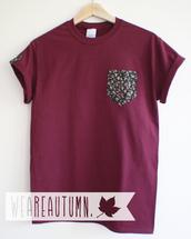t-shirt,unisex,burgundy,pocket t,pocket shirt,pocket t-shirt,pockets,indie,hipster,grunge,hip,ombre,floral,vintage,asos,weareautumn