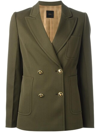 blazer double breasted women spandex wool green jacket