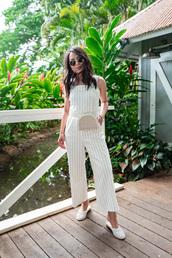 jumpsuit,white jumpsuit,stripes,shoes,mules,sunglasses