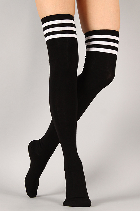 soilovefashion's save of Parallel Division Thigh High Socks on Wanelo