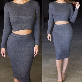 skirt gray two-piece two piece body con