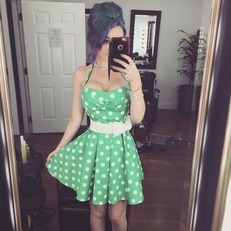 dress mint dress pinup dress pin up cute polka dots polka dots dress white belt