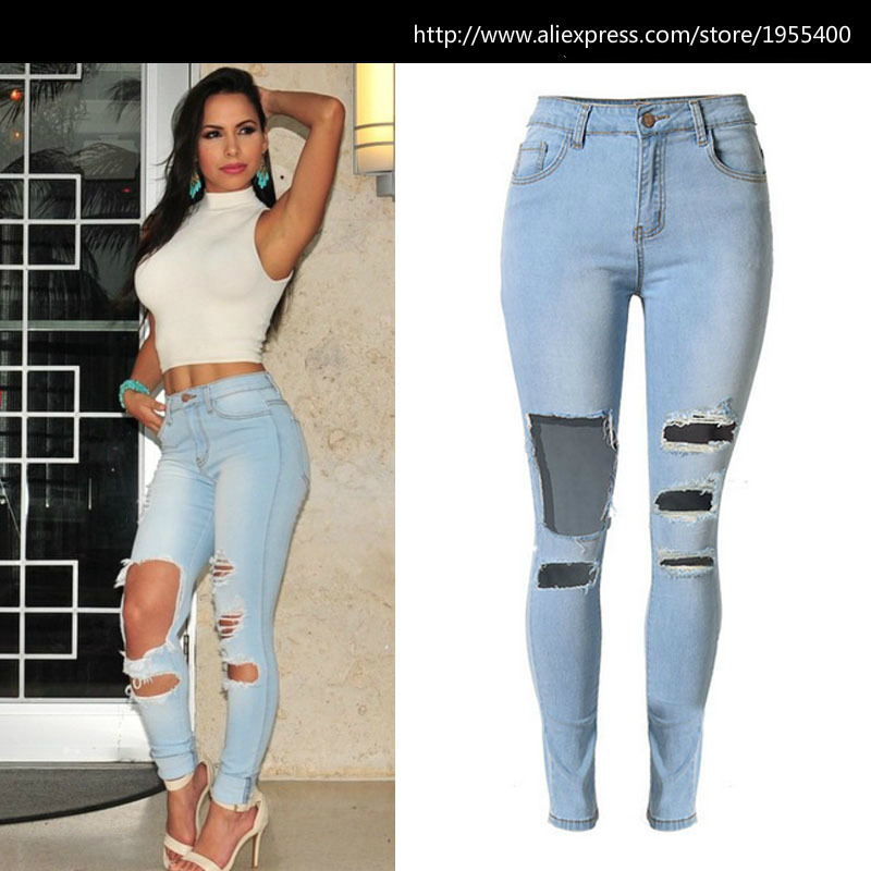Shop 2016 New High Waist Light Blue Skinny Jeans Women American ...