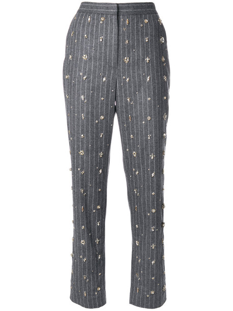 MSGM women embellished wool grey pants