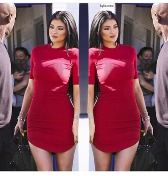 dress blouse kylie jenner red dress kylie jenner jewelry stacked bracelets keeping up with the kardashians red