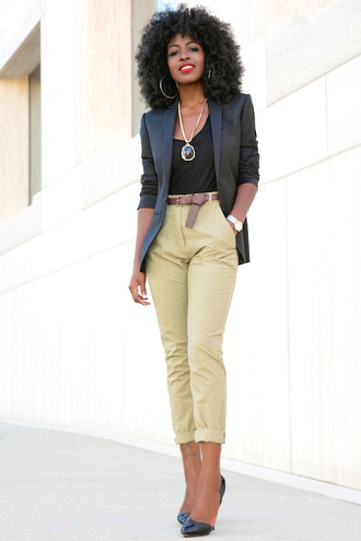 blogger jacket tank top pants shoes blazer black blazer beige pants black top statement necklace black heels black girls killin it gemstone pendant