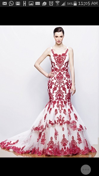 dress red dress white dress prom dress prom gown wedding dress lace patterned dress beaded dress beaded embrioder embriodery embroidered lace dress wow red and white dress evening dress gown mermaid prom dress mermaid wedding dress mermaid dresses mermaid/trumpet trumpet trumpet/mermaid prom dress trumpet/mermaid wedding dress