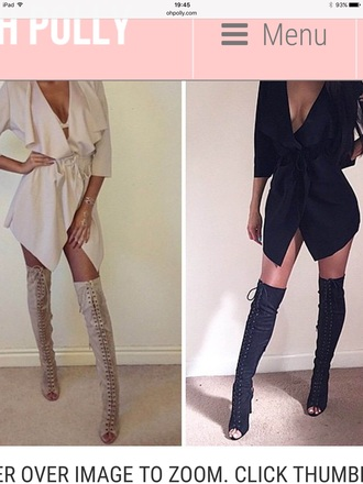 shoes nude lace dress sandals heels thigh high boots boots sexy fashion trendy kylie jenner